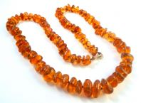 Antique Hand Knotted Amber Bead Necklace With 9ct Gold Clasp.